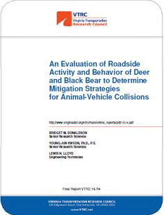 Oct.2015 Virginia DOT report on preventing deer and black bear collisions