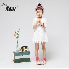 NEAT JTH 2017 summer new round neck 7 points sleeves A word dress lace print baby children's lace baby girl dress A1037 #Affiliate