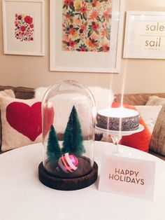 Mini Christmas Style.  Styled by Adrian Perry.  #smallspaces #brushtrees