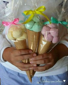 Ice cream cone party favors, fill with candy, marshmallows Candy Party, Party Favors, Party Sweets, Ice Cream Party, Ice Cream Theme, Ideas Para Fiestas, Candy Table, Unicorn Birthday Parties, Childrens Party