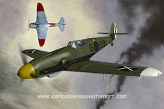"""Messerschmitt Bf 109G-10 Legion Condor vs Lavochkin La-5FN F.A.R.E. (a """"what if"""" scenario)."""