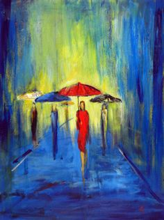 RAIN Painting Abstract Colorful Contemporary Art - Female Figure RED Umbrella - Oil on Canvas - ORIGINAL Art by Abbie Blackwell. $120.00, via Etsy.