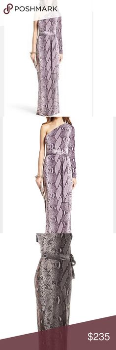 Dvf coco maxi one sleeve python print dress nwt 6 Brand new sz 6. A bold snakeskin print silk and alluring one sleeve neckline upgrade this wrap silhouette . Asymmetrical one shoulder neckline. One long sleeve. Tie closure at waist. About 60 from shoulder to hem. Silk. Dry clean Imported. - Color: Python Multi -... Diane von Furstenberg Dresses Maxi