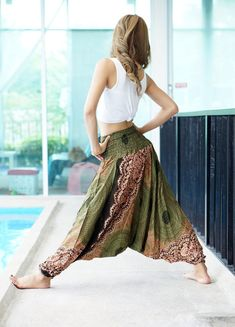 Harem Pants Thai Pants Rayon Pants Boho Strenchy Pants by MaeYing
