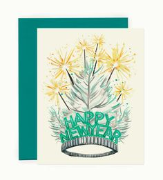 A festive and feathery New Years tiara is crowned with sparklers on this lovely hand painted greeting card. Holiday Gift Guide, Holiday Cards, Create And Craft, New Year Card, Sparklers, Merry And Bright, Paper Goods, Letterpress, Christmas Fun