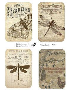 Butterflies, Dragonflies, Vintage, Tags, Scrapbooking