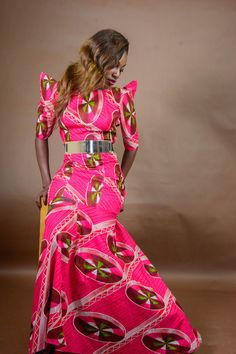 African Print Maxi dress - The Oma Dress, 100% cotton, African Wax fabric + Gold belt