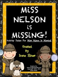"""PERFECT FOR A SUB TUB! THIS BEST SELLING UNIT IS NOW 125 PAGES! Miss Nelson Is Missing: 125 pages of ideas, games, activities, graphic organizers, projects & printables that correlate with the book """"Miss Nelson Is Missing.""""~Class Discussion Questions & Ideas~Vocabulary & Definition List~Variety of Graphic Organizers~Reading Comprehension~Writing & Drawing Activities ~2 Double Match Games~ABC Order Activity Cards~Antonyms~Foldables~Venn Diagrams ~Making Connections~Story Maps~Math~Map Skills…"""