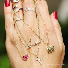 Find your lucky charm, express your devotion or remind yourself to keep chasing your dream. Mix metals, layer different chain lengths to create a look that's all your own. Now at osterjewelers.com #dream  #heart #rubies #diamondnecklaces #key #jewelryofinstagram #jewelrylove #osterjewelers