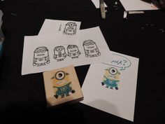 PART ONE SHOWING TOP OF STAMP:  Yes stampin write markers work on the wood blocks!  Sooooo.... I Googled Minion Colouring Page.  Used My Digital Studio to add eyes#2 and mouth#3 onto body #4 to get the minion that I wanted as a template to carve this fun minion stamp with Stampin' Up!'s UNDEFINED Stamp Carving Kit!  This was only on my 2nd day of having the kit!  so not a huge learning curve!