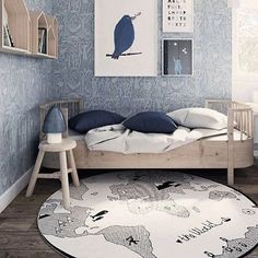 The untreated birch wood furniture really stands out with darker shades such as this blue wallpaper and the world rug found at @bonordic gives it all a modern and timeless look - - - - - @kkrac.interiors #kidsinteriors_com #kidsinteriors #kidsinterior #kidsroom #childrensroom #boysroom #boysdecor #kidsdecor #kidsdesign #decorforkids #barnrum #barnerom #kinderkamer #kinderzimmer #chambreenfant #chambregarcon #kidsroominspo #scandidecor #Scandinaviandecor #nordicinteriors #scandinavianinterior