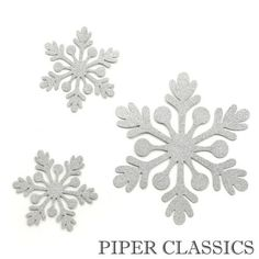 """Silver Glittered Snowflake Magnet - Set/3. Largest snowflake measures 9""""  High"""