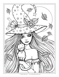 Free Witch And Cat Coloring Page Halloween Pages By Molly Harrison Fantasy Art