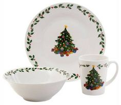 Gibson Joyous Gathering 12 Piece Dinnerware Set features white ceramic dishes with Christmas tree design in center and holly berry trim around outer edges.  sc 1 st  Pinterest & Gibson Poinsettia Holiday Dinnerware Set 20-Piece - List price ...