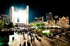 Nathan Phillips Square by night. Toronto City, Canada, Marina Bay Sands, Beautiful Images, Ontario, Scene, Stock Photos, Night, Building