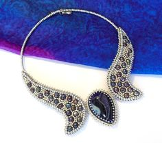 Bead Embroidery Necklace Collar silver agate pearl by Reginao, $100.00