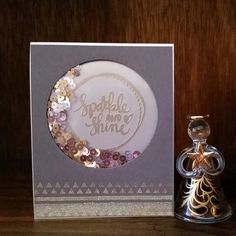 A Sparkle & Shine shaker card using the Simon Says Stamp December card kit and their Stitched Circle Dies. Sheena Joy -Joy's Studio Creations