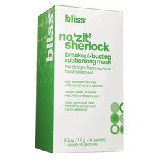 Get ready to say goodbye to breakouts with Bliss' No 'Zit' Sherlock Rubberizing Mask. This mask works to combat blemishes for those with acne-prone or sensitive skin. Its unique rubber texture is meant to cover the skin entirely, making the ingredients absorb deeply into the skin for a purifying, cleansing effect.