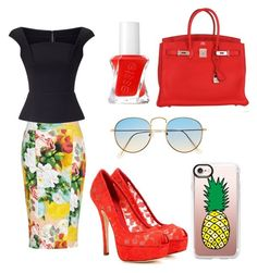 """🍍"" by reginaest on Polyvore featuring moda, Melissa McCarthy Seven7, Roland Mouret, Essie, Hermès, Dolce&Gabbana, Casetify y plus size clothing"