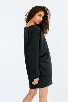 Oversized tee shirt dress. Solid black color. Totally in love #urbanoutfitters #affiliate