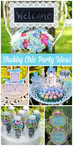 A beautiful shabby chic garden party shower with antique china, vintage linen napkins and old birdcages!  See more party planning ideas at CatchMyParty.com!