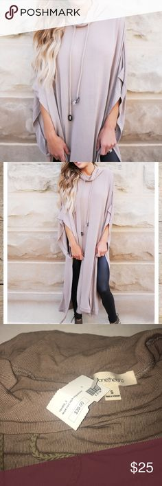Dottie Couture Taupe Cowl Neck Long Poncho Never worn. Perfect for fall! Bought last fall from the Dottie Couture Boutique. one the land Tops Tunics