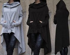 Hooded Sweatshirt Pattern (Sewing and Cutting) - Inspiration Needlewoman Magazine Hijab Fashion, Diy Fashion, Womens Fashion, Sewing Clothes, Diy Clothes, Sweat Original, Clothing Patterns, Hooded Sweatshirts, Hoodies