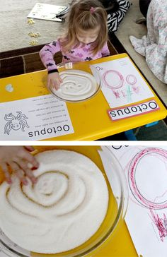 practicing letters using our finger in sugar!