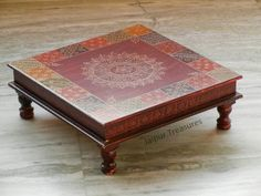 Wooden Footstool, Low Stool, Bed Table, Decoration Piece, Colorful Elephant, Kids Stool, Puja Room, Maroon Color, Rangoli Designs