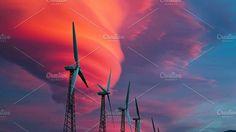 Windmills on the field. Technology Photos
