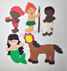 Apliques em EVA, personagens do folclore brasileiro: Saci, Curupira, Negrinho do Pastoreio, Iara e Mula sem Cabeça