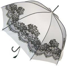 Prachtige witte paraplu met kanten motief
