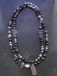 Dark Blue/ Grey Pearl Wrap Bracelet by kpottery on Etsy