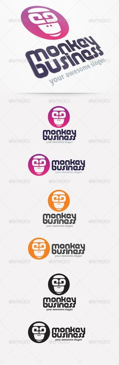 Monkey Business Logo Template — AI Illustrator #logo #purple • Available here → https://graphicriver.net/item/monkey-business-logo-template/2240935?ref=pxcr