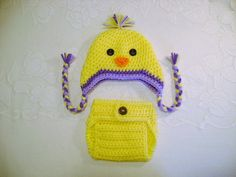 Spring Chick Crocheted Hat and Diaper Cover  Photo Prop