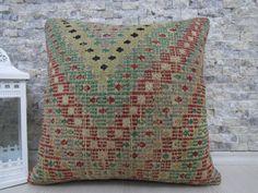 Great Handwoven Embroidery Design Kilim Pillow Wool Turkey Pillow 18 x 18 Vegetable Dyed Bohemian Pillow Floor Pillow Throw Pillow Lumbar