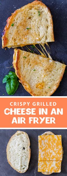 The best way to make a classic grilled cheese sandwich is in the air fryer, it is simple, mess-free and super crispy. This delicious sandwich makes for an easy yummy lunch for kids, you can serve it with classic tomato soup or just on its own. Grilled cheese sandwiches are the quickest, easiest and best way to serve a meal to any picky kid. #airfryerrecipes #grilledcheese