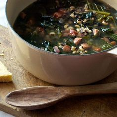 Black-eyed pea soup with andouille and collard greens - The tang of cider vinegar gives this a great flavor. Used smoked turkey sausage instead of andouille and a bit more red pepper flake. Simple, delicious comfort food!