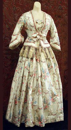 Watered silk dress and jacket ensemble, c.1855, from the Vintage Textile archives.