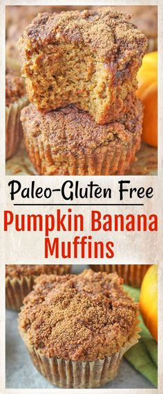Paleo Pumpkin Banana Muffins- easy to make and perfect for fall. Gluten free, dairy free, and naturally sweetened. They are so delicious!
