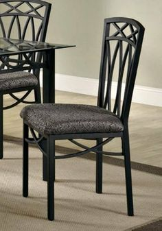 Coaster Set of 4 Blake Dining Side Chair with Fabric Seat and Metal Legs by Coaster Home Furnishings. $133.72. Metal legs. Fabric seat. Four metal side chairs provide comfortable seating with their fabric upholstered cushions. Made from wrought iron.
