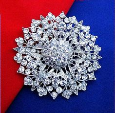 Vintage Silver Plated Clear Rhinestone Crystal Large Brooch Diamante Flower Wedding Bouquet Pins 2.4 Inch Free Shipping