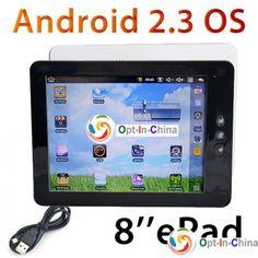 """Планшетный компьютер 8 """"ePad Google Android 2.3 Bluetooth/камера/Wi-Fi/4 ГБ/512 Особенности: Идеально подходит для таких задач как просмотр фильмов, интернет-серфинг, обучение и игры.  Характеристики: Операционная система: Android 2.3 Процессор: Samsung S5PV210 частота 1,2 ГГц. (ARM CortexTM-A8.) Оперативная память: DDR2 512 Мб. Экран: 8-дюймовый сенсорный экран. Разрешение 800 х 600 пикселей. Встроенная память: 4 Гб. (расширение до 32 ГБ Гб) Датчики: датчик ускорения и датчик силы тяжести."""