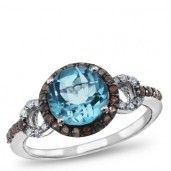 Matisse, Sterling Silver, Blue Topaz and Smokey Quartz Ring