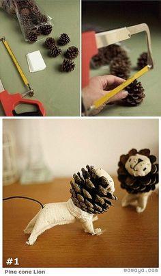 ATELIER CHERRY: Leão feito com pinha