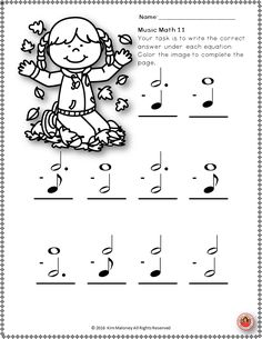 MUSIC WORKSHEETS.  Music Math with a FALL/AUTUMN Theme!  24 music worksheets aimed at reinforcing students' understanding and knowledge of note and rest values.    ♫ CLICK through to preview or save for later!   ♫