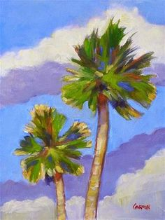 "Daily Paintworks - ""Two Palms, 6x8 Oil Painting on Panel"" - Original Fine Art for Sale - © Carmen Beecher"