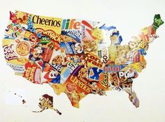 Cereal Boxes Map of US - Use Smartboard to project the states...essentially cost free project to benefit the school. Grade 5?