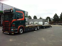 Scania flatbed engaged with flatbed trailer