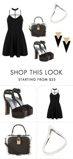 """Little Black Dress."" by sandra-boguslawska ❤ liked on Polyvore featuring Giuseppe Zanotti, WithChic, Dolce&Gabbana and Yves Saint Laurent"